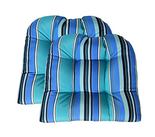 RSH DECOR Set of 2 Sunbrella Dolce Oasis Wicker Chair Cushion - Indoor/Outdoor 2 Matching Wicker Chair Cushions - Blue, Turquoise & White Stripe ()