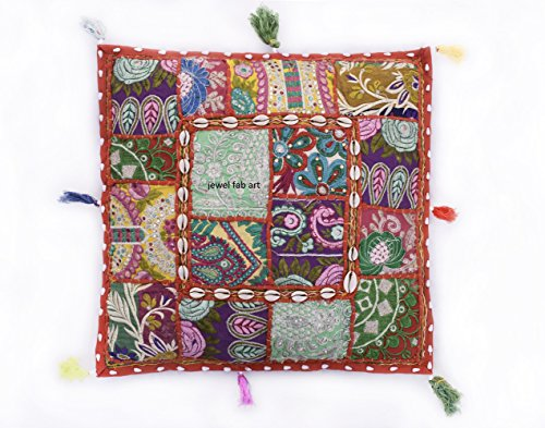 (Jewel Fab Art Red Embroidery Sequin Patchwork Indian Sari Throw Pillow Cushion Covers Square red Floor/Chair poufe Pouf Cover ONLY)