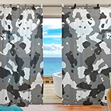 JSTEL Bedroom Decor Living Room Decorations Camouflage 38 Pattern Print Tulle Polyester Door Window Gauze Sheer Curtain Drape Two Panels Set 55x78 inch ,Set of 2