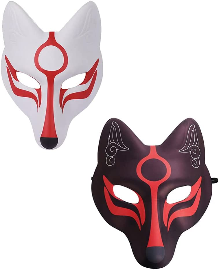 PRETYZOOM 2 Piezas Fox Face Cover Japon/és Kabuki Kitsune Cosplay para Disfraces de Halloween Accesorios de Escenario