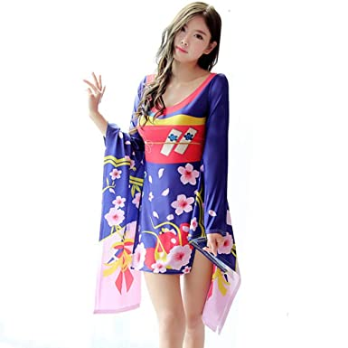 96dab4e47 YOMORIO Womens Sexy Kimono Lingerie Japanese Anime Cosplay Costume Sakura  Side Split Dress