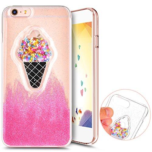 ihreesy iPhone 6 Case, Epoxy TPU shell Glitter Cute Phone Case Girls Design Bumper Soft Case Rubber Silicone Skin Cover for iPhone 6 6S(4.7,Ice cream