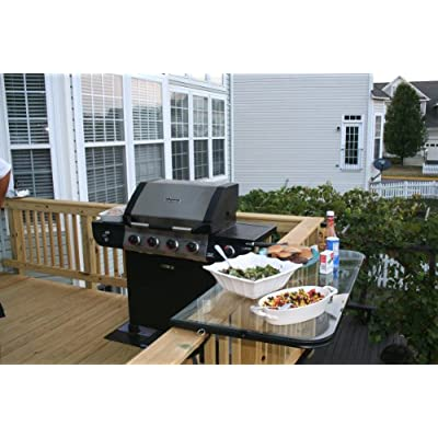 The DeckMATE Railing Table with Tempered Glass Top-Black Frame : Patio Side Tables : Garden & Outdoor