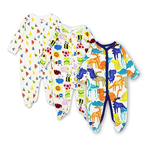 3pcs/Set Baby Girls Footies Newborn Clothes Long Sleeved 100% Cotton Cartoon