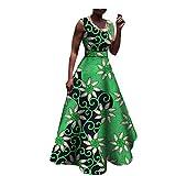 African Print Casual Dress Sleeveless o-Neck Floor Length Tank Sashes Dress Women 100% Batik Cotton Made 378J S