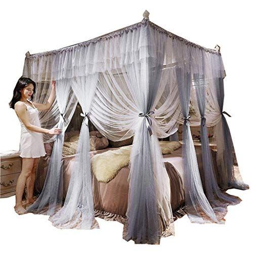 Obokidly Princess 4 Corners Post Canopy Mosquito Net,Bed Canopy Romantic Mosquito Net for King Queen Full Twin Size Bed (Grey, - Romantic Beds Canopy