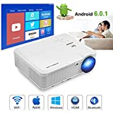 WiFi Projector Wireless Bluetooth, Multimedia Projector 3900 Lumen, LCD LED Home Theater Projector Android 6.0 for phone iPhone iPad Laptop Blu-ray DVD Player PS3 PS4 XBox TV HDMI USB VGA AV Speaker