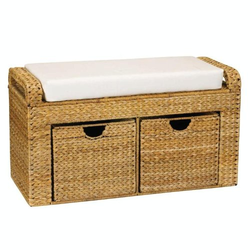 Household Essentials Wicker Cushioned Storage Seat with 2 Drawers, Natural