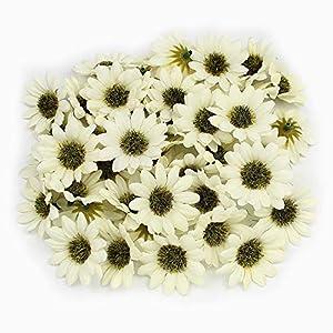 GSD2FF 50Pcs Multi Color Artificial Daisy Flower Heads Silk Gerbera Fake Flowers for Home Wedding Decoration Scrapbook DIY,Cream 73
