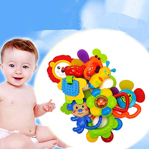 HANMUN 8pcs Baby Rattle Teether Set,Shaker Baby Toy,Grab and Spin Rattle,Musical Toy Set Early Educational Toys for 3,6,9,12 Month Baby Infant,Newborn ...