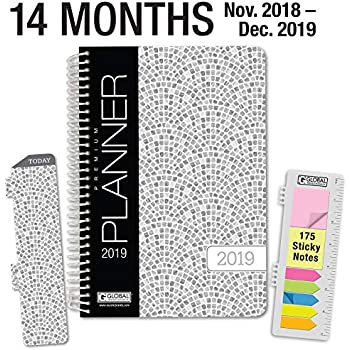 hardcover calendar year 2019 planner november 2018 through december 2019 55x8 daily weekly monthly planner yearly agenda