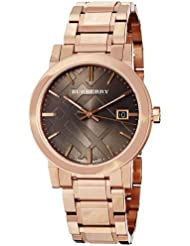 Burberry Womens BU9005 Large Check Rosetone Stainless Steel Bracelet Watch