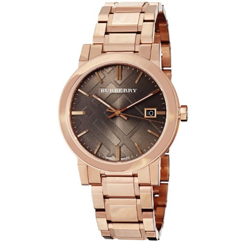 Burberry Women's BU9005 Large Check Rosetone Stainless Steel Bracelet Watch (Bracelet Large Watch)