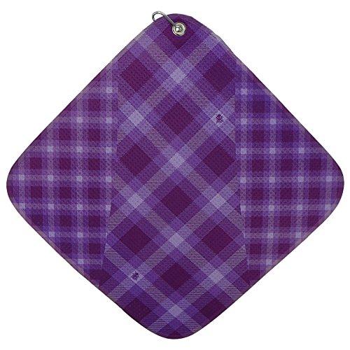 Purple Plaid Print Microfiber Golf Towel by BeeJos ()