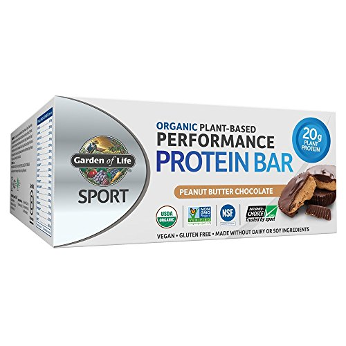 (Garden of Life Organic Sport Protein Bar, Vegan, Peanut Butter Chocolate,12 Count)