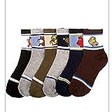 3 Pair Boys Crew Socks Kids Shoe Size 4-6 Years Cartoon Patterned Design School
