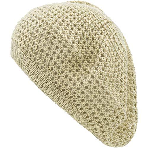 an Ladies Beige Open Knit Fashion Beanie Beret Hat Loose Crochet