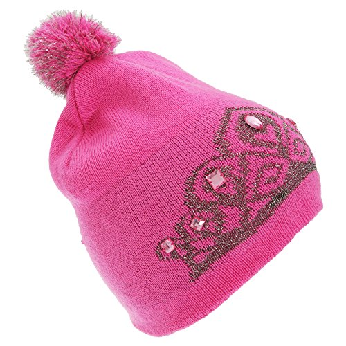 FLOSO Womens/Ladies Tiara Pattern Winter Beanie Bobble Hat (One Size) (Pink)