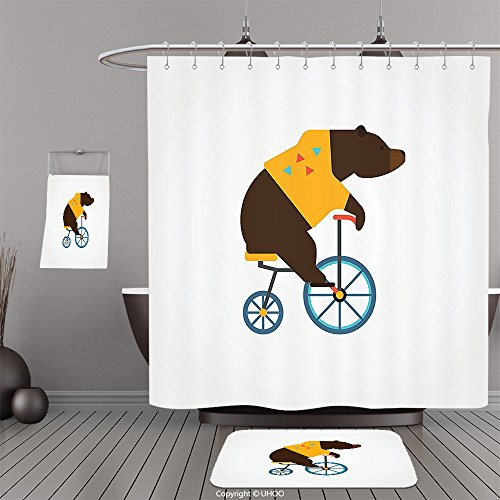 Costume National Riding Boots (Uhoo Bathroom Suits & Shower Curtains Floor Mats And Bath TowelsBicycle Decor Big Teddy Bear Icon of Circus Riding Bicycle with Trendy Hipster Costume Animal Image Brown YellowFor Bathroom)