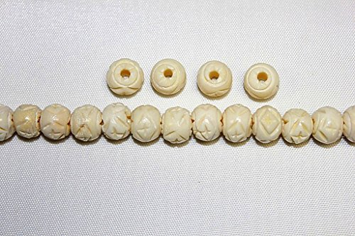 Hand Crafted & Carved Bone Beads - 8mm, 10mm, 12mm - Round & 1/2