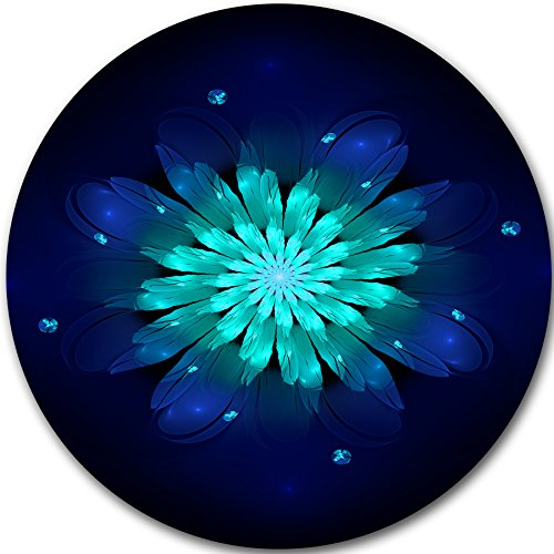 Fractal Flower Blue N Turquoise Floral Art Round Blue Wall Decoration