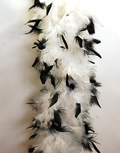 (80 Gram Chandelle Feather Boa 2 Yards - WHITE w/ BLACK Tips)