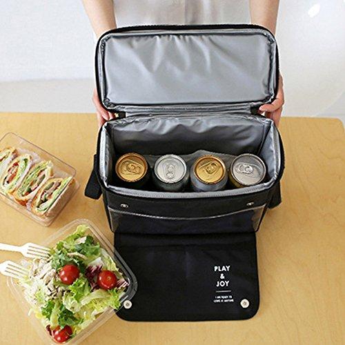 Pacchetto Di Isolamento Picnic All'aperto Refrigerante Pacchetto Bag Pranzo Borsa Portatile,Nero