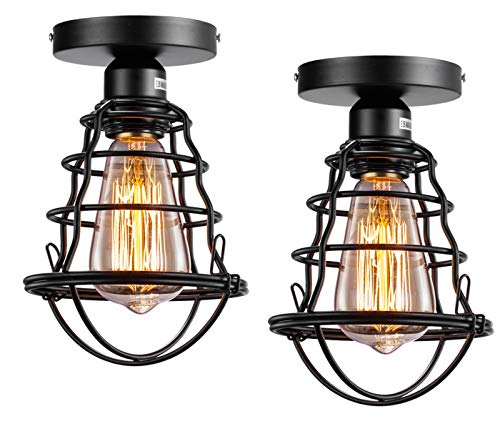 Vintage Semi Flush Mount Ceiling Light E26 E27 Base Edison Rustic Antique Metal Caged Industrial Ceiling Light Fixture for Hallway Porch Bathroom Stairway Bedroom Kitchen 2 Pack ()