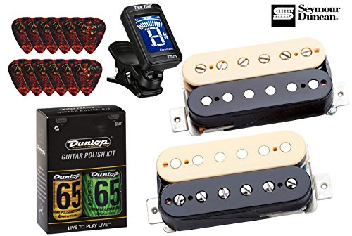 Seymour Duncan APH-2s Slash Alnico II Pro Humbucker Pickup Set - Zebra/Reverse Zebra Bundle w/ Tuner and Care Kit