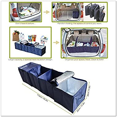 Autoark AK-009 Navy Blue Foldable Multi Compartment Fabric Car Truck Van SUV Storage Basket Trunk Organizer and Cooler Set