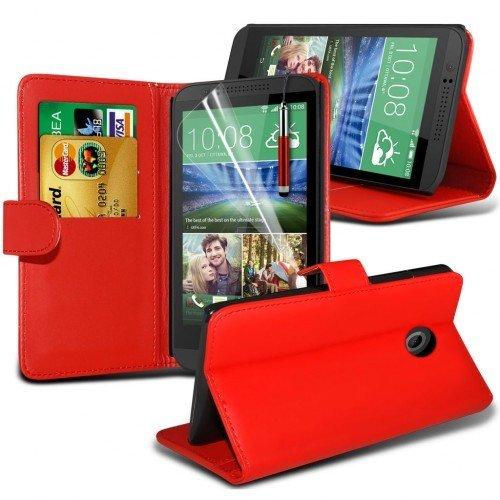 HTC Desire 320 Cubierta del caso con cuero (Rojo) Plus de regalo libre, Protector de pantalla y un lápiz óptico, Solicitar ahora mejor caja del teléfono Valorado en Amazon! By FinestPhoneCases