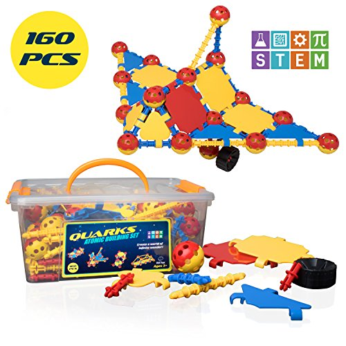 "STEM Toys Engineering Building Blocks - ""Quarks"" 160 Piece Building Toys for Boys and Girls with Multilink Spheres and Connectors for STEM Construction"