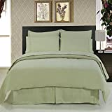 ''Fit for Royalty'' wrinkle free Calking Bed in a Bag set; Silky soft microfiber for a rich slumber; Crisp Sage color for any room reno style