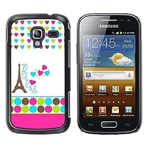 LECELL--Funda protectora / Cubierta / Piel For Samsung Galaxy Ace 2 I8160 Ace II X S7560M -- Polka Dot White Heart France Eifel --