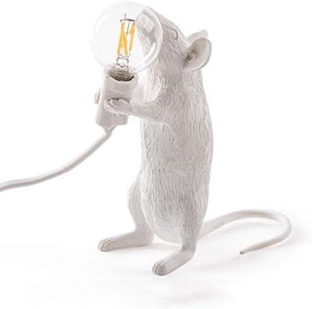 Seletti Lampe de table en forme de souris assisse, blanc, produit d'origine