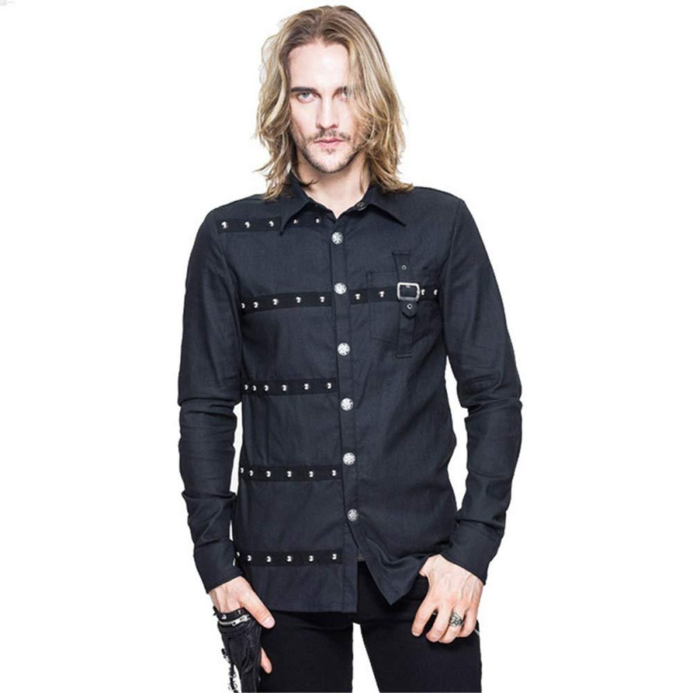 X-grand T-Shirt à Manches Longues en Coton Punk Rock pour Hommes, Couleur Unie, de Couleur Unie pour Hommes (Taille   M)