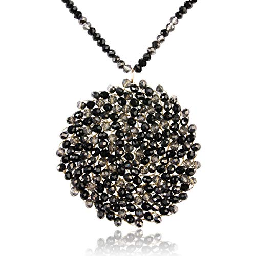 RIAH FASHION Bohemian Pendant Beaded Long Statement Necklace - Sparkly Crystal Bead Boho Braided Disc Wired Round Circle Charm (Round - Black/Clear)