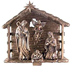 Holy Family With Gloria Angel In Barn 13 Inch Bronze Colored Resin Nativity Set