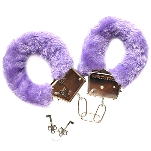 Freebily Furry Fuzzy Handcuffs Soft Metal Adult Sex Night Party Game Gag Gift Purple One Size