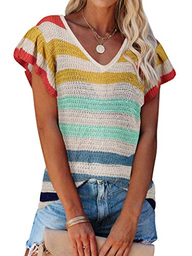 MYMORE Womens Summer Sweater Color Block Loose Casual Knitted Shirts Top
