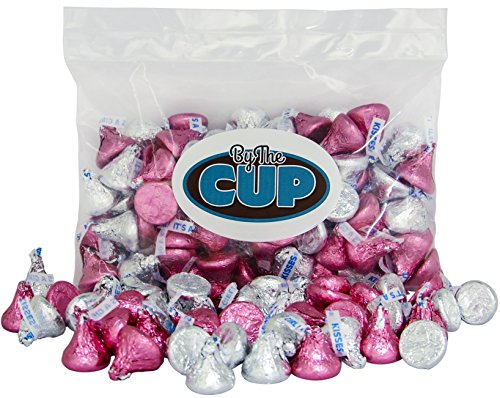 Hershey's Kisses Milk Chocolate - Silver & Pink It's a Girl Candy 1 Pound Bulk Bag - By The Cup