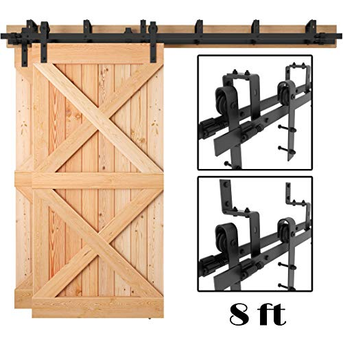 Restoration 8' Center - [Sale] 8 FT Heavy Duty Bypass Double Door Sliding Barn Door Hardware (Powder Coated Frosted Black) (J Shape Hangers) (2 x 8 Foot Solid Rails) Installation Video Included by Homeland Hardware