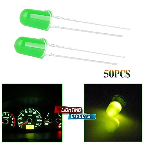 CCIYU 5mm 3V Green LED Emitting Diode Bulbs Lamp Used for Light Decorations, Torches, Toys and Gifts, Car Decorations (Pack of 50pcs)