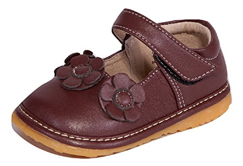 Little Mae's Boutique Squeaky Shoes | Brown Three Flower Mary Jane Toddler Girl Shoes (7) -