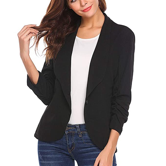 NREALY Jacket Womens Fashion OL Style Three Quarter Sleeve ...