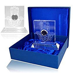 Alef Judaica Crystal with Laser Cut Hamsa and Small Black Quartz Desk Clock Embedded