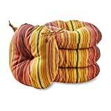 Greendale Home Fashions 15 in. Round Outdoor Bistro Chair Cushion (set of 4), Kinnabari Stripe