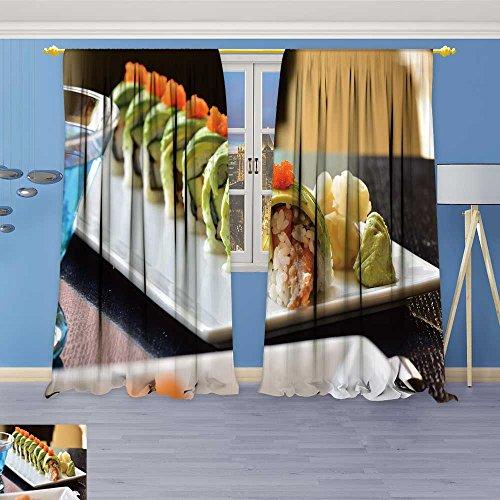 SOCOMIMI Abstract Decor Curtains,dragon roll sushi roll american style shrimp tempura cucumber,Living Room Bedroom Window Drapes 2 Panel Set, 120W x 96L Inch