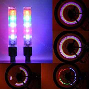 2 x Bike Cycle Wheel Tire Valve Cap Spoke Neon 5 LED Lights 7 Modes Flash Light