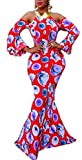 Women's Dashiki African Digital Printed Off Shoulder Hanging Neck Maxi Mermaid Gown Night Dress
